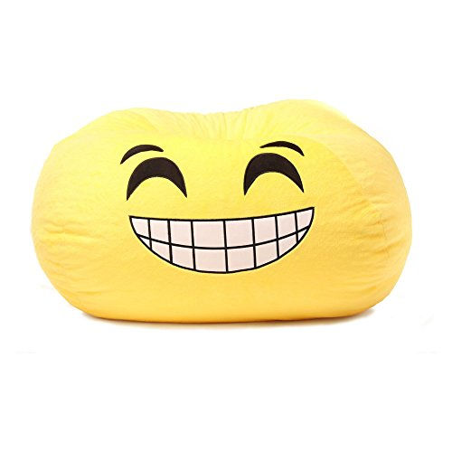 GoMoji 9631201 Emoji Bean Bag Grinning Chair, 28 x 28, yellow by GoMoji