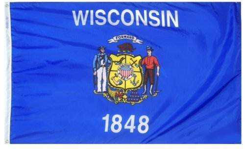 Wisconsin State Flag 3×5 ft. Nylon SolarGuard Nyl-Glo 100% Made in USA to Official State Design Specifications by Annin Flagmakers. Model 145960 by Annin Review