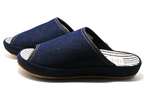 Unisex Slip-on Slippers Happy Lily Non-slip Open Toe Sandal 3D Structure Mules Dress Cotton Fabric Indoor Shoes for Adult darkblue JsprG16PL