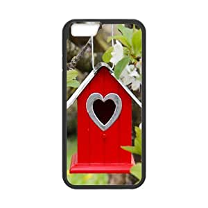 iPhone 6 plus Case,Tree Flowers Branch Birdhouse Hard Shell Back Case for Black iPhone 6 plus Okaycosama409720