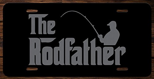The Rodfather Fishing Funny Vanity Front License Plate Tag KCE022 (Lazer Bass Bait)