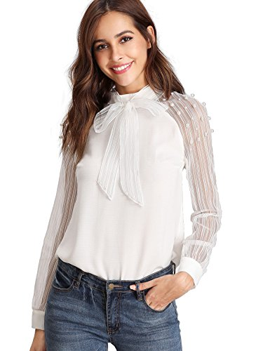 Embellished Medium Sleeve (Verdusa Women's Tie Neck Pearl Embellished Striped Mesh Sleeve Blouse White M)