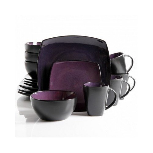 Square Dinnerware Service for 8, Plates Bowls Mugs, 32-Piece Set, Modern Purple & Black (Square Purple Dinnerware Sets)