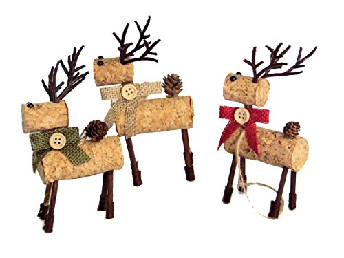 3 Cork Reindeer Rustic Country Style Christmas Tree Ornaments
