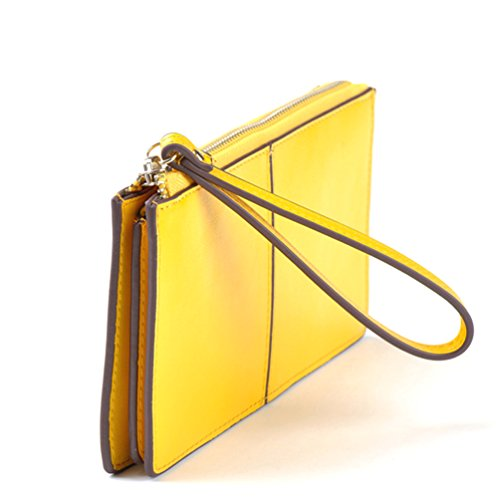 Mantos Eternity Women Soft Genuine Leather Zipper Arround Clutch Long Wallet Everning Purse Case Handbag with Wrist Strap
