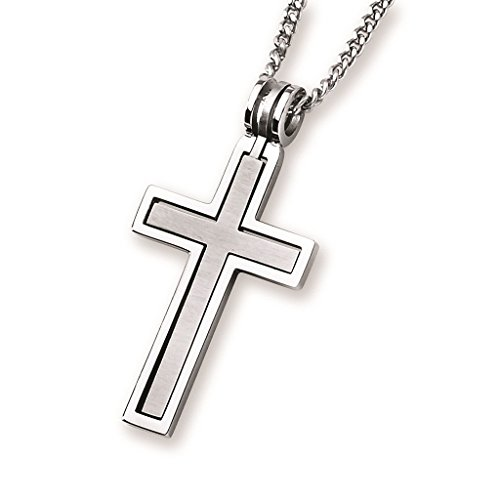 Boston Bay Diamonds Men's Stainless Steel Embedded Cross Pendant Necklace with 24