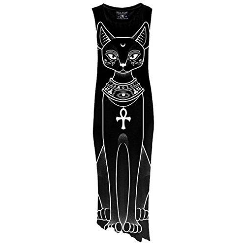 Meow Cat Killstar Katze Gothic Kleid Schwarz Bast Shirt Maxi Schwarz RF7qYa1