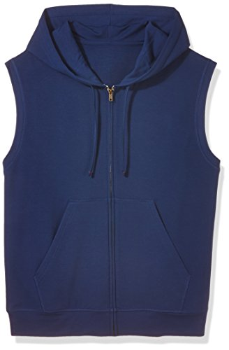 Good Brief Men's Sleeveless French Terry Zip-Up Hoodie XX-Large Medieval Blue
