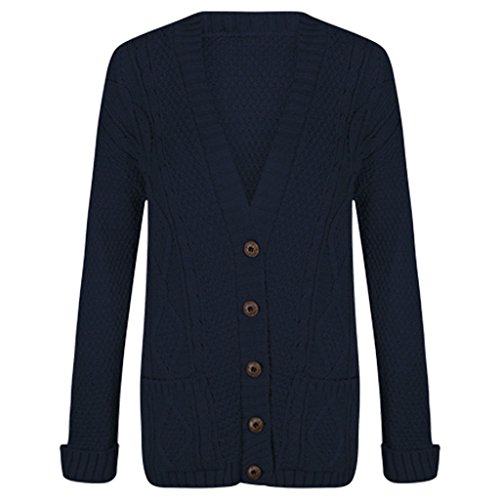 - Womens Cable Knit Chunky Ladies Grandad Boyfriend Pocket Button up Top Cardigan-Navy-2XL