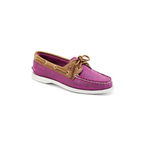 Sperry Top-Sider Mujer Authentic Original 2-Eye Casual zapatos Pink Sparkle Suede-Cognac