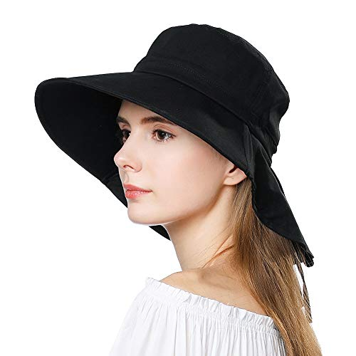 Packable Cotton Gardening Safari Sun Hat for Women SPF Protection Neck Shade Chin Strap Black 56-58cm