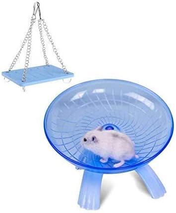 Hamster Exercise Wheel for Syrian Hamster Rat Gerbil Guinea Pig Chipmunk Mouse Parakeet Small Animal Swing Toys Blue