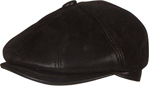 Sakkas 1776 - Milo Newsboy Cabby Hat Flat Cap Embossed Matte Convertible Insulated - Black - XXL
