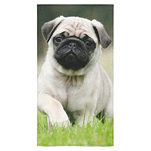Beach Towel Modern Cute Pug Dog Design 27 x 54 Inches Machine Washable, Perfect for College Dorm, Pools, Gyms, Beaches, Locker Rooms, Bathroom Shower Wrap, Beach Wrap, Bath Wrap, Spa - Optimal Seven Drawer