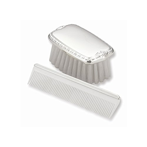925 Sterling Silver Gift Boxed Boys Comb Brush Set Baby Fine Jewelry For Women Gift Set ()