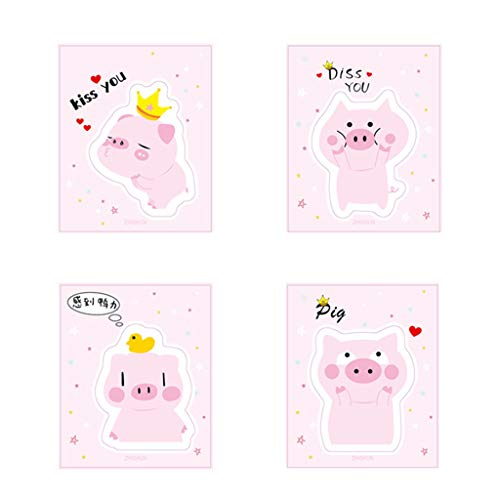 lipiny 4Pcs/Bag Creative Cute Cartoon Little Pink Pig Sticky Notes for Reminding Plan Schedule Writing Supply