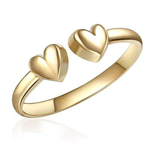 10K Yellow Gold Heart Toe Ring, Real 10K Yellow Gold Heart Toe Ring, 10K Genuine Yellow Gold Heart Toe Ring