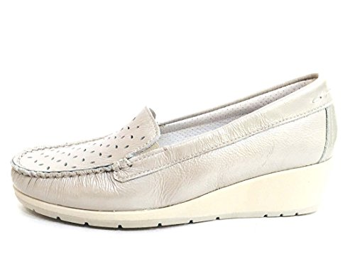 Enval soft 12597 Perla Scarpa Donna Mocassino Con Zeppa Pelle Made in Italy