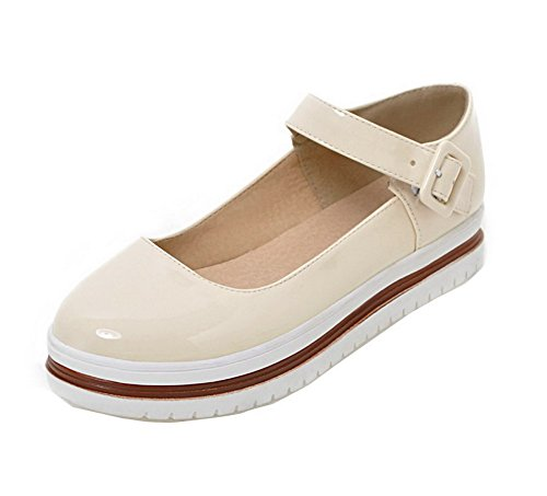 Odomolor Women's Low-Heels Buckle Patent Leather Round Closed Toe Court Shoes Beige SU8gbYz