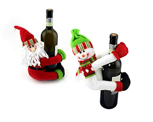 iFavor123 Set of 2 Christmas Santa Claus and Snowman Wine Bottle Christmas Decoration ()