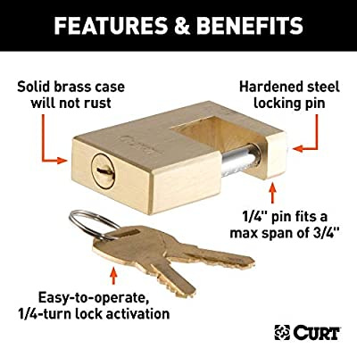 CURT 23546 Brass Trailer Tongue Coupler Lock, 1/4-Inch Pin Diameter, Up to 3/4-Inch Coupler Span: Automotive