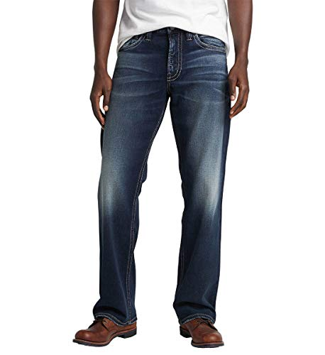 Silver Jeans Co. Men's Zac Relaxed Straight Jeans, Classic Dark Indigo Rinse, 32W X 32L (Big Star Jeans Mens Pioneer)