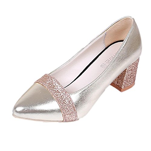 IGEMY Fashion Elegant High Heel Pointed Shoes Casual Shoes Wedding Shoes Women Gold 73buyruI