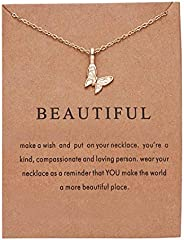 Beautiful Necklace for Women Girls Best Friend Long Necklaces BFF Chain Necklace with Message Card Christmas B