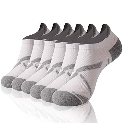 Golf Socks, Gmark Women Ankle Athletic Running Comfort Drycool Cushioned Breathable Ultralight Socks with Seamless Toe, Moisture Wicking, Cushion Padding For Adults,6 Pairs White&Gray ()