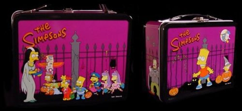 Simpsons Halloween metal lunch box with drink bottle