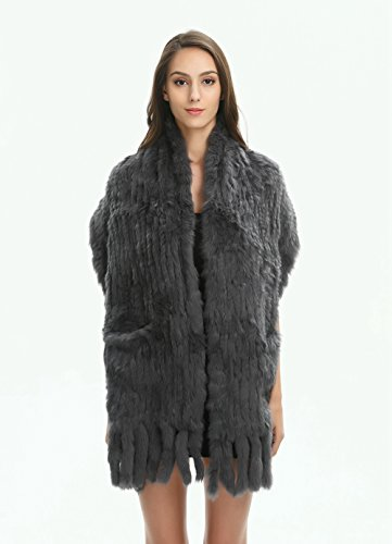 Ferand Women's Knitted Real Rabbit Fur Warm Shawl Scarf with Tassels for Winter, One size, Dark grey by Ferand (Image #5)
