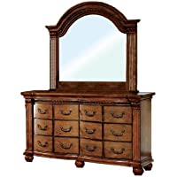 Furniture of America Lannister Elegant Dresser and Mirror Set, Antique Tobacco Oak Finish