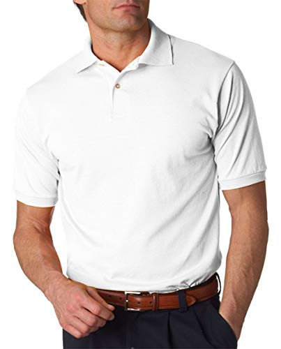 Jerzees Men's 5.6 oz., 50/50 Jersey Polo with SpotShield, Small, WHITE