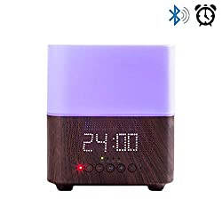 Daroma Alarm Essential Oil Diffuser,300ml Aromatherapy Scent Mist Fragrance Ultrasonic Room Humidifier Home Office Gift, Alarm Clock, Bluetooth Speaker, Night Lamp, Dark Wood