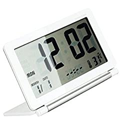 Digital Clock, soled Foldable Digital Travel Clock. Multifunction Silent LCD Digital Large Screen Travel Desk Electronic Alarm Clock, Date/Time/Calendar/Temperature Display, Snooze, White and Silver