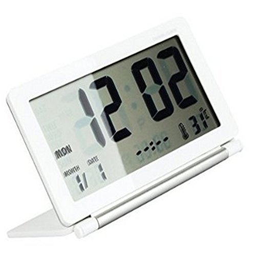 Travel Alarm Clock, soled Digital Clock, Office Desk Clock, Bedroom Clock, Study Desk Clock, Travel Alarm Clock with Date Time Calendar Temperature, Snooze White and Silver (Battery Included) (Digital Clock Small Plug)
