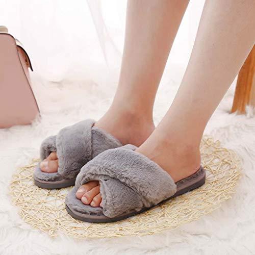 Hiver Pantoufles Gris Ouvert Femmes Bout Chaussons Peluche Ipotch À UwY7fEn8