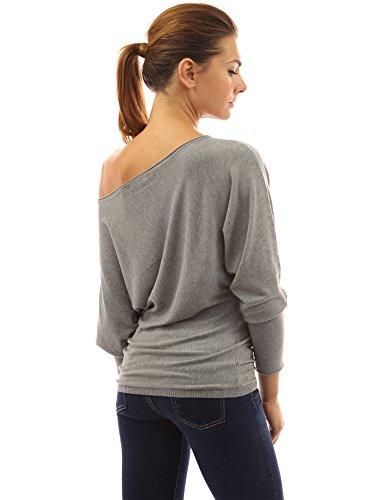PattyBoutik Mujer un hombro superior del batwing del suéter de punto gris