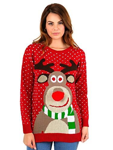 No haut de tricot Reindeer Red Rennes Pompom l UNISEXE et flocon neige NEUF FEMMES HOMMES no l rouge qOC8FAw
