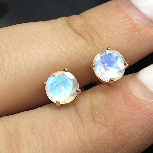14K Rose Gold Genuine Rainbow Moonstone Stud Earrings - 14K Solid Gold Moonstone Studs - 6mm Moonstone Crystal Earrings - Diamond Alternative Studs - Rose Gold Studs (Diamond Earrings Moonstone)