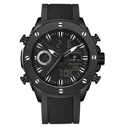 GOLDEN HOUR Men's Sports Watches Outdoor Waterproof Military Date Tactics Alarm Backlight Stopwatch Wrist Watch with Rubber Strap Color: Black (Black)