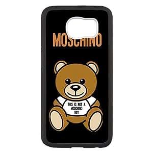 Moschino del logotipo del teléfono celular V3V0We Funda Samsung Galaxy S6 funda Negro L8F7XT con cierre a presión fundas caja del teléfono celular