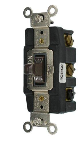 Leviton 1286 20-Amp 120-Volt Toggle Double-Pole AC Quiet Switch, Brown
