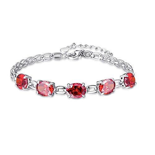 - BONLAVIE Oval Cut 4-Prong Created Spessartine Garnet 925 Sterling Silver Square Chain Link Bracelet for Girl