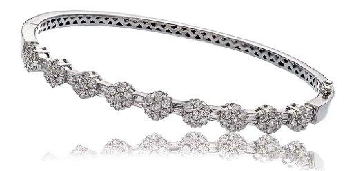 1.85CT Certified G/VS2 Round Brilliant Cut Flower Diamond Bangle in 18K White Gold