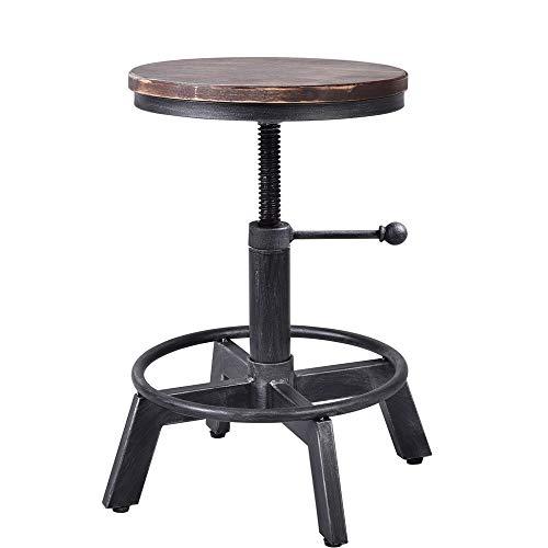 "BOKKOLIK Industrial Bar Stool-Counter Height Chairs- Swivel Wooden Seat- Adjustable 15.2-21"""