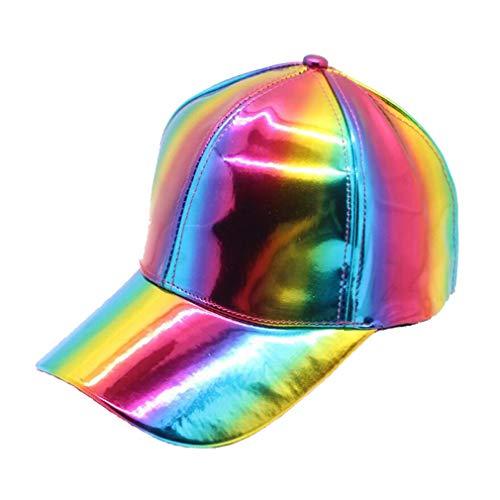 Shiny Holographic Baseball Cap Laser Leather Rainbow Reflective Glossy Snapback Hats (Rainbow 2)]()