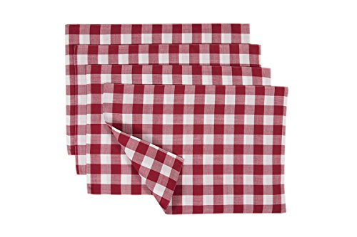 Gingham Mat (Xia Home Fashions Gingham Check Placemats, 13 by 19-Inch, Red, Set of 4)