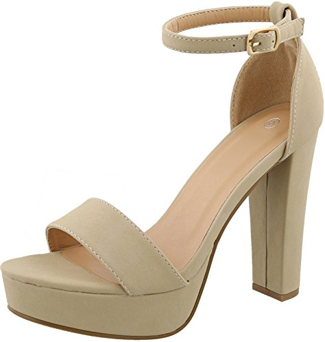 Cambridge Select Women's Open Toe Single Band Buckled Ankle Strap Chunky Platform High Heel Sandal,9 B(M) US,Beige NBPU