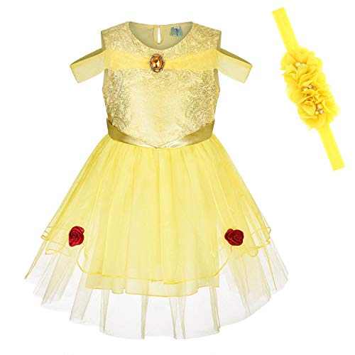 Princess Dresses (Elsa,Snow,Belle,Little Mermaid,Anna,Cinderella,Rapunzel,Aurora) Costumes for Toddler Girls(130CM/5-7Years,Bella) ()